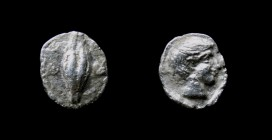 IONIA, Magnesia ad Maeandrum under Themistokles, 465-459 BCE; AR hemiobol, 0.37g 7.5mm Obv: Barley grain with Θ to left, E to right Rev: Male head rig...