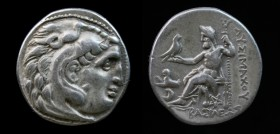KINGS of THRACE: Lysimachos (323-281 BCE), AR drachm, issued c. 299-296 BCE. Kolophon, 3.87g, 17.5mm. Obv: Head of Herakles right, wearing lion skin h...