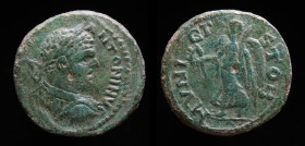 MACEDON, Stobi: Caracalla (198-217), AE24. 5.82g, 23.9mm. Obv: [...] ANTONINV, laureate, draped and cuirassed bust right.  Rev: MVNICI STOB, Victory a...