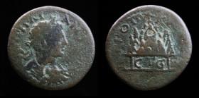CAPPADOCIA, Caesarea: Elagabalus (218-222), Dated RY 5 (AD 222). 10.99g, 26.5mm. Obv: Laureate, draped, and cuirassed bust right; uncertain countermar...