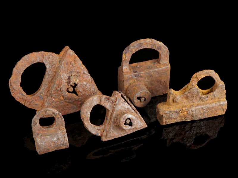 5 Medieval Iron Padlocks