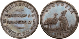 Australia, private issue tokens Melbourne, Victoria. Copper Halfpenny, 1862, JNO ANDREWS & CO. DRAPERS, MELBOURNE 11 LONSDALE ST. WEST, Rev. VICTORIA,...