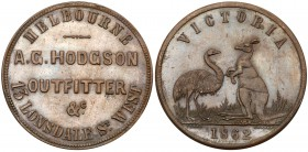 Australia, private issue tokens Melbourne, Victoria. Copper Penny, A.H. HODGSON OUTFITTER &C MELBOURNE 13 LONSDALE ST. WEST, Rev. VICTORIA, kangaroo a...