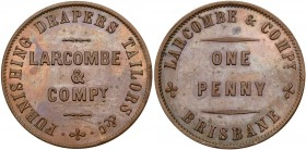 Australia, private issue tokens Brisbane, Queensland. Copper Penny, LARCOMBE & COMPY FURNISHING DRAPERS TAILORS, Rev. LARCOMBE & COMPY BRISBANE ONE PE...