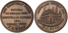 Australia, private issue tokens, Hobart, Tasmania. Copper Halfpenny, undated, MONTPELLIER RETREAT INN, W.D. WOOD, the inn, Rev. ONE HALFPENNY TOKEN PA...