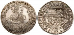 Austria. Archduke Leopold V (1623-1632), silver Taler, 1632. Hall. Crowned, armored half-figure right, holding scepter and gripping hilt. Rev. Crowned...