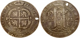 Bolivia, Philip IV of Spain (1621-65). Silver cob 8-Reales Royal, 1657 PE, Potosi, crowned cross of Jerusalem, lions and castles in alternate angles, ...