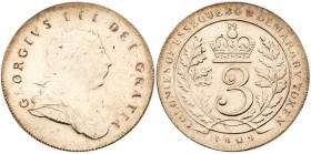 Essequibo & Demerary, George III (1760-1820). Silver 3-Guilder, 1809, Royal Mint, laureate bust right, Rev. crowned 3 within oak leaves, COLONIES OF E...