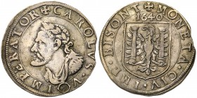 France: Feudal Coinage. Franche-Comté, City of Besancon. Silver Teston, 1640, in the name of Holy Roman Emperor Charles V (1516-1556), laureate...