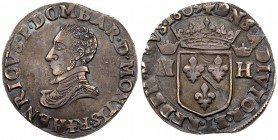 France: Dombes. Henry II de Bourbon-Montpensier (1592-1603). Silver Teston 1603. Bare head with ruff collar left, Rev. Crowned coat of arms between cr...