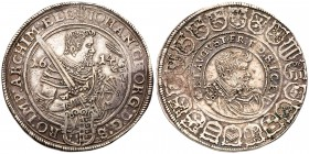 German States: Saxony. Johann Georg I and August of Naumburg (1611-1615). Silver Taler, 1614. 28.95g. Armoured half-length figure with sword and helme...