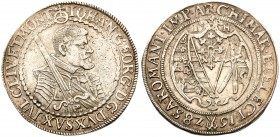 German States: Saxony. Johann Georg I (1615-56). Silver Quarter Taler, 1628-HI. Dresden mint. Half-length figure facing right holding sword over right...