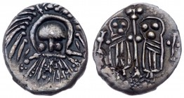Anglo-Saxon, Secondary Sceattas. Silver Sceat (1.16 g), ca. 710-720/5. Type 30b. East Midlands mint. 'Wodan head' with long beard facing. Reverse: Two...