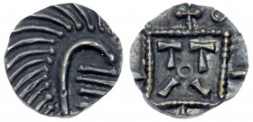 Anglo-Saxon, Continental Sceattas. Silver Sceat (1.08 g), ca. 710-730/50. Series D. Frisian mint, possibly Dorestad. 'Porcupine' right. Reverse: Stand...