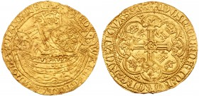 Edward III (1327-1377). Gold Half-Noble of three shillings and four pence, third coinage, third period (1346-1351), armoured King standing facing in s...