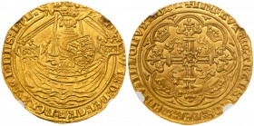 Edward III (1327-77). Gold Noble of six shillings and eight pence, Fourth Coinage (1351-77), Tower Mint London, Treaty Period (1361-69) King standing ...
