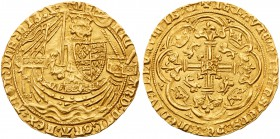 Richard II (1377-99). Gold Noble of six shillings and eight pence, Calais Mint, type 2a, no French title in legend, armoured King standing in ship wit...