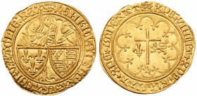 Henry VI, King of England and France (1422-53). Gold Salut d'Or, Rouen Mint, second issue (issued from 6th September 1423), standing figures of Virgin...