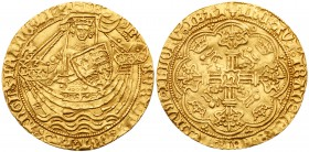 Henry VI, first reign (1422-1461). Gold Noble of six shillings and eight pence, Annulet issue (1422-1430), York mint, King standing in ship holding sw...