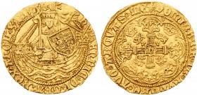 Henry VI, first reign (1422-61). Gold Half Noble of three shillings and four pence, Tower Mint, Annulet Issue (c.1422-30), King standing in ship with ...