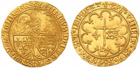 Henry VI, King of England and France (1422-53). Gold Salut d'Or, St Lô Mint, second issue from 6th September 1423, standing figures of Virgin Ma...