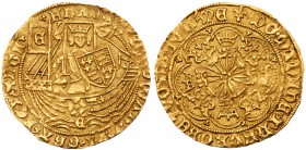 Edward IV, first reign (1461-70). Gold Half-Ryal of five shillings, light coinage (1464-1470), York Mint, armoured King standing facing in ship, holdi...
