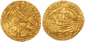 Edward IV, second reign (1471-83). Gold Angel of six shillings and eight pence, final issue of reign issued at juncture with reign of Edward V, St Mic...