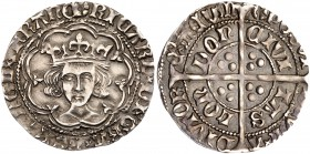 Richard III (1483-85). Silver Groat, type I, London Mint facing crowned bust in double tressure of nine arcs, fleur de lis on cusps, beaded circles an...