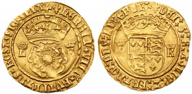 Henry VIII (1509-47). Gold Crown of the Double Rose of five shillings, struck in 22 carat crown gold, second coinage (1526-44), large crowned rose, cr...