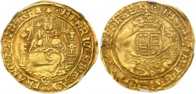 Henry VIII (1509-47). Gold Half-Sovereign, third coinage (1544-47), Tower Mint, initial mark pellet in annulet both sides, facing crowned robed figure...