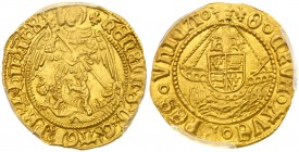 Henry VIII (1509-47). Gold Half-Angel of four shillings, third coinage (1544-47), struck in 23 carat gold, St Michael spearing dragon right, Latin leg...