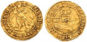Henry VIII (1509-1547). Gold Quarter-Angel of two shillings, third coinage (1544-47), St Michael slaying dragon right, St Michael wearing tunic, initi...