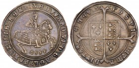 Edward VI (1547-1553). Silver Crown of five shillings, 1551, Fine Silver issue, King on horseback right, date below in Arabic numerals, wire line and ...