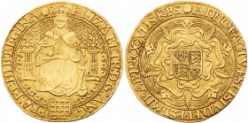 Elizabeth I (1558-1603). Fine gold Sovereign of Thirty Shillings, sixth issue (1583-1600), full facing robed figure of Queen seated on large throne, l...