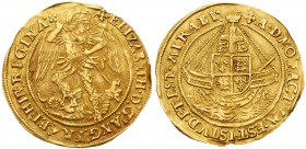 Elizabeth I (1558-1603). Fine gold Angel of ten shillings, first to fourth issue (1559-78), St Michael slaying dragon right, head breaks inner wire li...