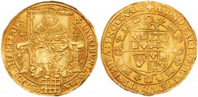 James I (1603-1625). Fine gold Rose Ryal of thirty shillings, Third coinage (1619-25), King in robes seated facing on plain back throne within tressur...