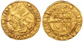 James I (1603-25). Fine gold Half-Angel of five shillings and sixpence, second coinage (1604-19), St Michael slaying dragon right, Latin legend and be...