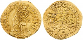 Charles I (1625-49). Gold Half Unite or Double Crown of ten shillings, 1643, Oxford mint, crowned bust of king left to edge of coin, mark of value X b...