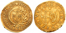 Commonwealth (1649-60). Gold Crown of five shillings, 1649, variety without stops by mint mark or value, English shield within laurel and palm branch,...