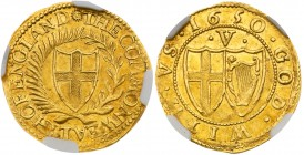 Commonwealth (1649-60). Gold Crown of five shillings, 1650, 50 struck over 49, no stops on obverse, English shield within laurel and palm branch, lege...