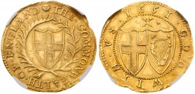 Commonwealth (1649-60). Gold Half-Unite or Double Crown of ten shillings, 1651, the 1 of date struck over 0, variety without stops by mint mark, Engli...