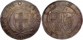 Commonwealth (1649-60). Silver Crown, 1656, second 6 of date struck over 4, English shield within laurel and palm branch, legends in English language,...