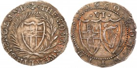 Commonwealth (1649-60). Silver Sixpence, 1660, English shield within laurel and palm branch, legends in English language, initial mark anchor.THE. COM...