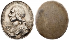 Commonwealth (1649-60), silver Medal, Oliver Cromwell Lord Protector. dated 1650 (eighteenth century restrike), Battle of Dunbar, uniface, 21x24mm by ...