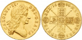 Charles II (1660-85). Gold Five Guineas, 1684, the 4 of date struck over a 3, second laureate head right, Latin legend and toothed border surrounding,...