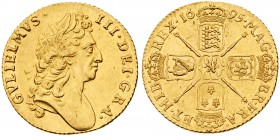 William III (1694-1702). Gold Guinea, 1695, first laureate head right, Latin legend and toothed border surrounding both sides, GVLIELMVS. III. DEI. GR...