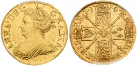 Anne (1702-14). Gold Half-Guinea, 1714, Post-Union, draped bust left, legend surrounding, ANNA.DEI. GRATIA., toothed border around rim both sides, Rev...