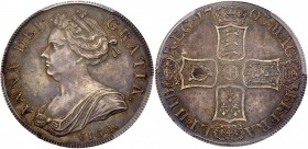 Anne (1702-14). Silver Crown, 1703, VIGO. below first draped bust left, Latin legend and toothed border surrounding, ANNA.DEI. GRATIA., Rev. Pre-Union...