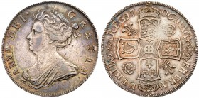 Anne (1702-14). Silver Halfcrown, 1706, draped bust left, Latin legend and toothed border surrounding, ANNA. DEI. GRATIA., Rev. Pre-Union crowned cruc...