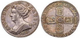 Anne (1702-14), Silver Pre-Union Sixpence, 1703. VIGO, below draped bust left, Latin legend and toothed border surrounding, ANNA.DEL.GRATIA. Rev. Pre-...
